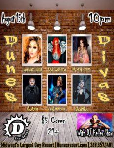 Dunes Divas promotional flyer for August 15, 2020 event.
